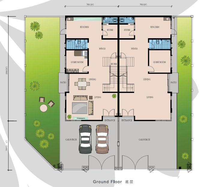 cluster house ground floorplan