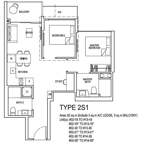 2 bedroom plus study