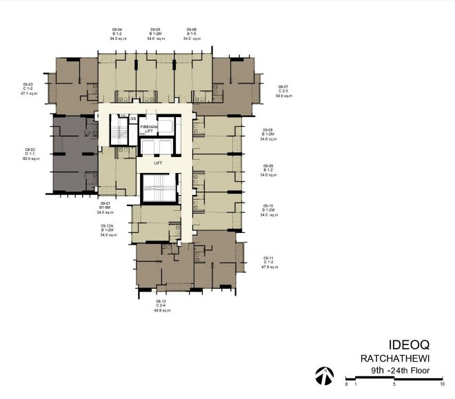siteplan of 9th-24th floor