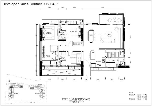 type f1 3 bedroom with balcony
