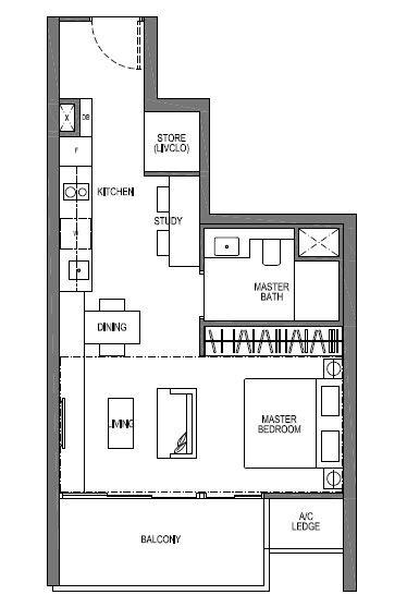 1 bedroom plus study suite