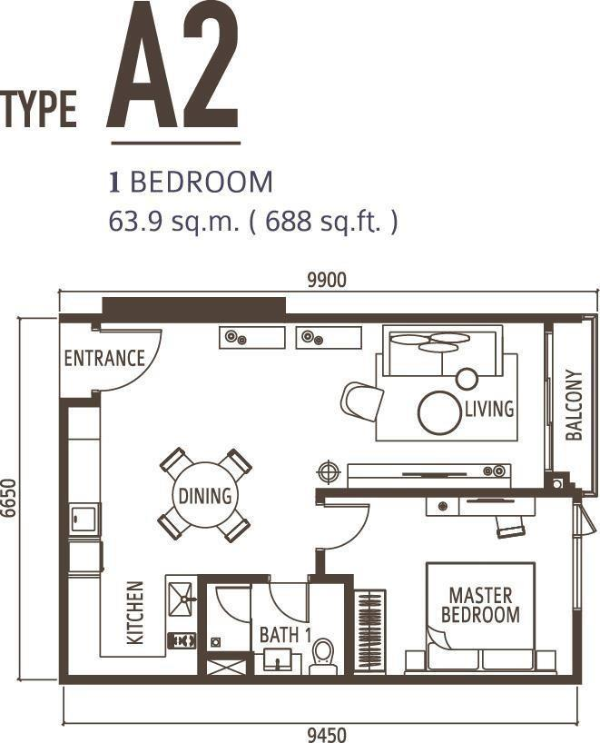 1 Bedroom Type A2