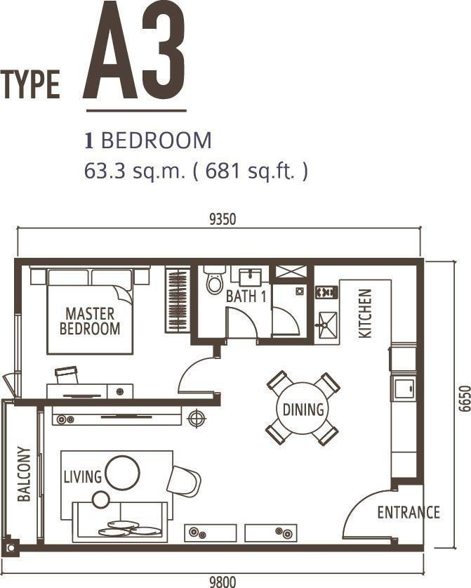 1 Bedroom Type A3