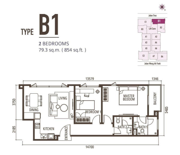 2 Bedroom - Type B1