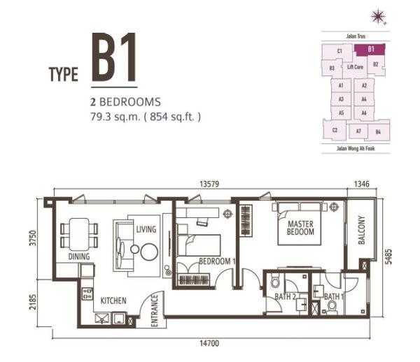 2 Bedroom - Type B1