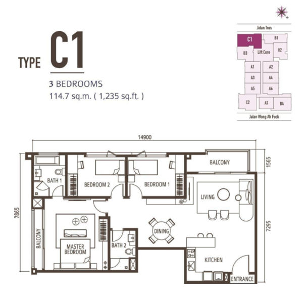 3 Bedroom - Type C1