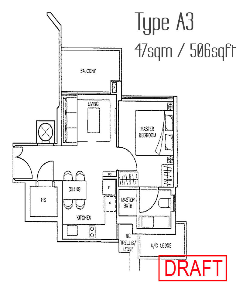 Stars of Kovan Type A1 Unit floor plan