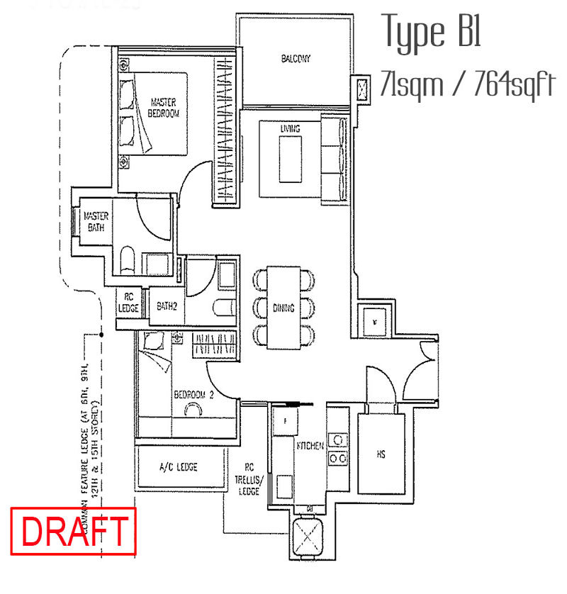 Stars of Kovan Type B1 floor plan