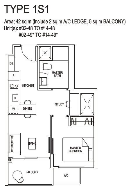 1 Bedroom plus Study