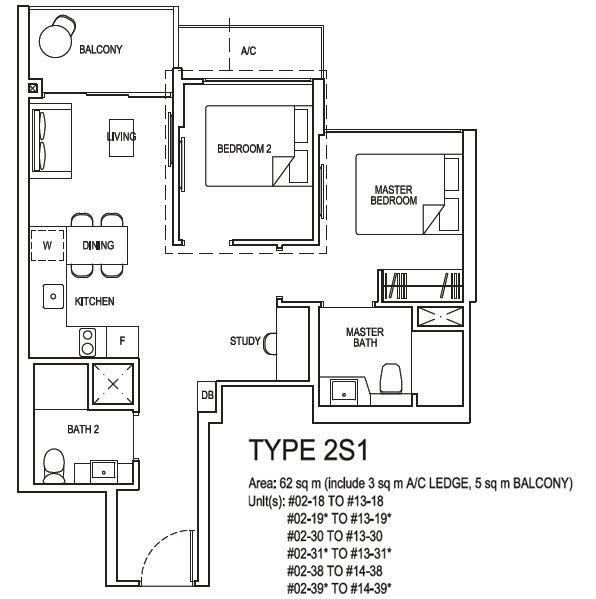 2 bedroom plus study