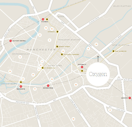 Location map of Oxygen Manchester apartment tower