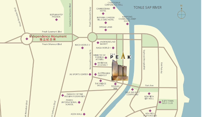 the peak @ cambodia location map